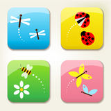 Bugs icon set. With ladybeetle, dragonfly, butterfly and bee Royalty Free Stock Photo