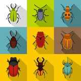 Bugs icons set, flat style Stock Photography