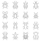 Bugs icons set, outline style Stock Photo