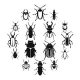 Bugs icons set, simple style. Bugs icons set. Simple illustration of 16 bugs vector icons for web stock illustration