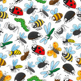 Bugs and insects funny cartoon wallpaper Royalty Free Stock Photo