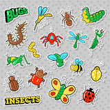 Bugs and Insects Patches, Stickers, Badges Set for Prints and Textile. Vector Doodle Stock Images