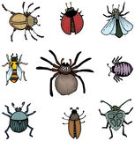 Bugs and insects. Set of bugs and insects, Hand drawn Stock Image