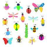 Bugs and other insects funny set, cute design. Vector illustration vector illustration