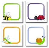 Bugs paper notes. Collection of four labels with frame and colorful bugs Stock Image