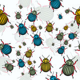 Bugs pattern. Seamless vector white pattern with brigh bugs Stock Photo