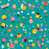 Bugs pattern. Cute bugs,butterflies and snails seamless pattern Royalty Free Stock Image