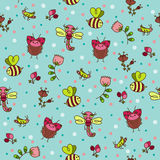 Bugs seamless wallpaper. Royalty Free Stock Image
