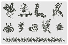 Bugs. Set of abstract dark insects. Heraldic Royalty Free Stock Photos