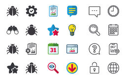 Bugs signs. Virus software error icons. Royalty Free Stock Photos