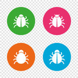 Bugs signs. Virus software error icons. Stock Photography