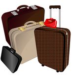 Bugs and suitcase. On a white background a large brown suitcase, medium beige bag, big bag, mens black flat bags and ladies' small handbag Stock Images