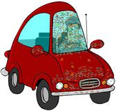 Bugs On The Windshield. This illustration depicts a man driving a red car with splattered bugs on the front and windshield Royalty Free Stock Photos