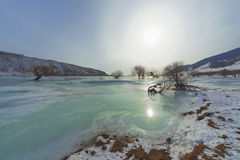 Buguldeika River at the confluence of Lake Baikal in winter Stock Photography