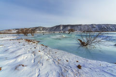 Buguldeika River at the confluence of Lake Baikal in winter Stock Images