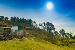 Bugyals, flat lands at upper Himalayas, Uttarakhand, India. Sun shining on Bugyals, alpine pasture lands, or meadows, in higher elevation range of Himalayas in stock images