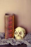 Buh und Schädel mit Halloween-Buch von den Bannen Schwarzweiss Stockfotografie