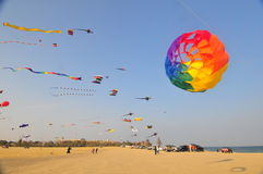 Buhamad Kites Team. Playing kites in Kuwait beach in winter 2009 Stock Photography