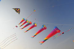 Buhamad Kites Team. Playing kites in Kuwait beach in winter 2009 Royalty Free Stock Image