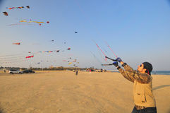 Buhamad Kites Team. Playing kites in Kuwait beach in winter 2009 Stock Images