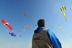 Buhamad Kites Team. Playing kites in Kuwait beach in winter 2009 Stock Photo