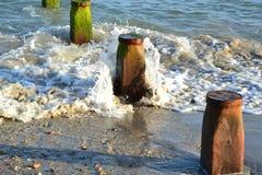 Buhnen an einem Strand in West-Sussex in England Stockbild
