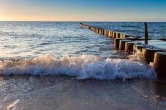 Buhnen and Waves at baltic sea Royalty Free Stock Image