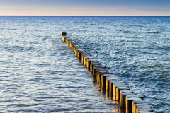Buhnen and Waves at baltic sea Stock Image