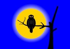 Buho con la luna stock de ilustración