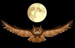 Buho en el cielo nocturno ilustración del vector