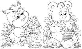 Buho y oso Foto de archivo libre de regalías