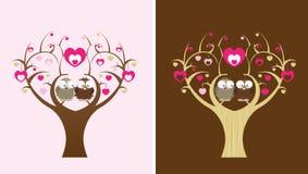 Buhos en un árbol de amor Imágenes de archivo libres de regalías