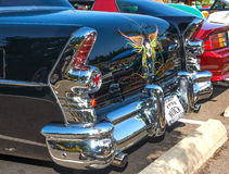1955 Buick rear view. Rear view of a 1955 restored and customized Buick at a August, 2014 classic car show in Washington, State Royalty Free Stock Images