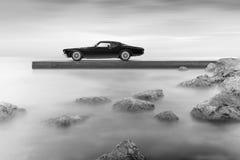 Buick Riviera 1972. Standing on pier Stock Photos