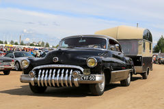 Buick Super Eight Car and Vintage Travel Trailer Royalty Free Stock Photography