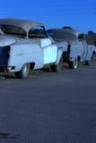 2 Buicks Lowrider gerade 8 bei Sonnenuntergang Stockfotografie