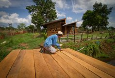 Mud house roof making Royalty Free Stock Image