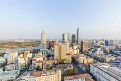 从buiding的上面的胡志明市视图 免版税库存照片