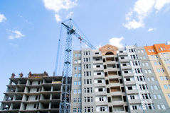 Buiding housing complex  construction crane Stock Photos