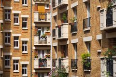 Buidings facades, Paris, France. Modern residential building facades with a pattern of windows Royalty Free Stock Photo