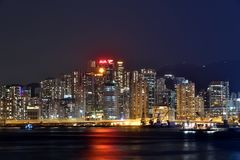 Buidling in night around Hongkong Victoria harbor 2016 Royalty Free Stock Image