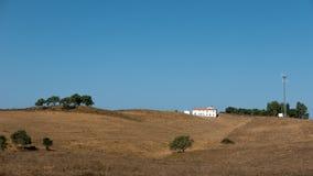 Buidling omgav vid torrt gräs Arkivfoton
