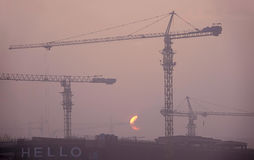Buidling site and sunset Royalty Free Stock Images