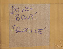 Buig niet! Breekbaar! royalty-vrije stock foto's