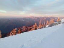 Buila山看法在日出的 免版税库存图片