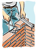 Build. Illustration of a construction worker while building a wall of a house Royalty Free Stock Photo