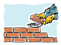 Build. Illustration of a construction worker while building a wall of a house Stock Photography