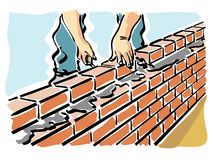 Build. Illustration of a construction worker while building a wall of a house Royalty Free Stock Photos