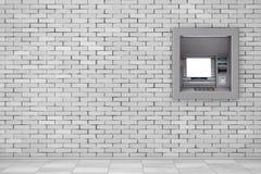Build In Bank Cash ATM Machine. 3d Rendering. Build In Bank Cash ATM Machine in brick wall. 3d Rendering Stock Photos