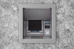 Build In Bank Cash ATM Machine. 3d Rendering. Build In Bank Cash ATM Machine in concrete wall. 3d Rendering Stock Photos